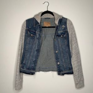 Hollister Denim Jacket w/ Fabric Sleeves